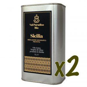 Olio extravergine di oliva biologico IGP, siciliano, Val Paradiso nella latta da 1 litro